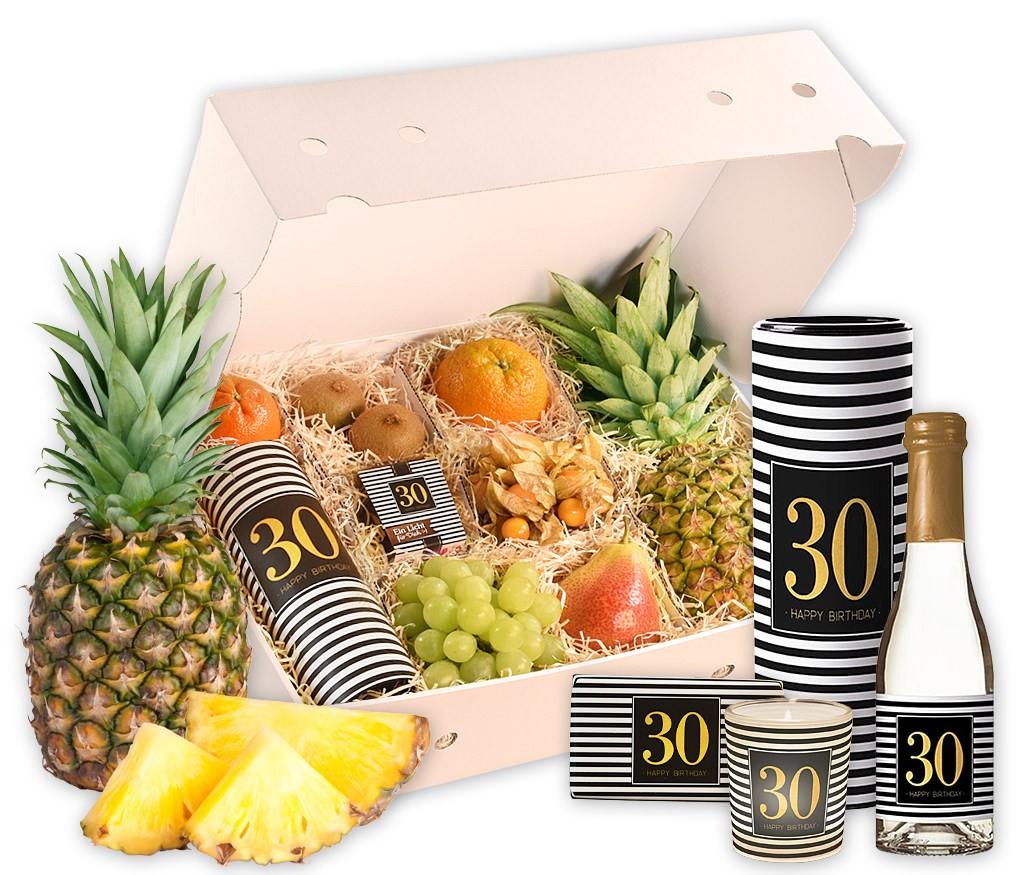 Obstbox Happy Birthday zum 30. Geburtstag mit frischem Obst, Geburtstags-Prosecco, Windlicht und Schokolade