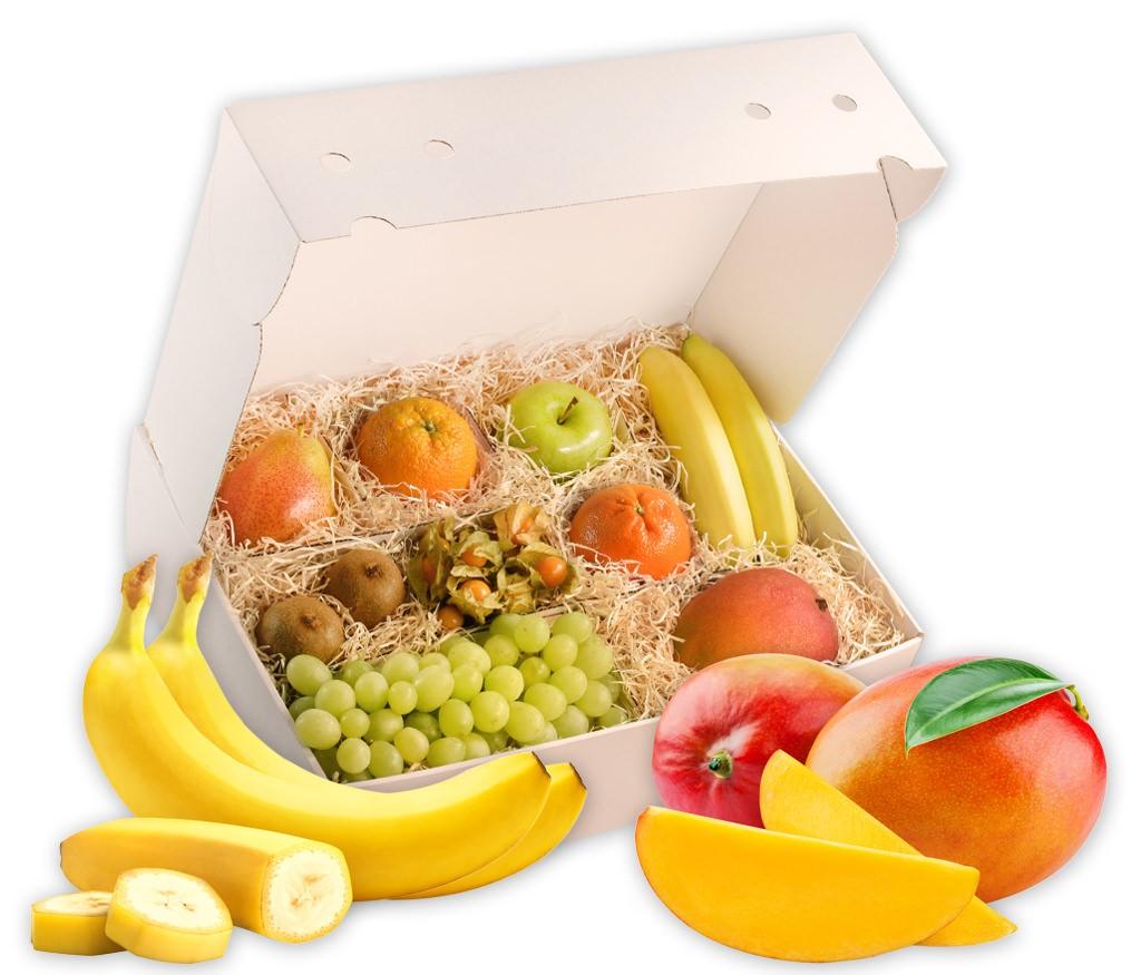 Obstbox Frühlingssone, frische Frühlings-Früchte in einer schönen Geschenkbox