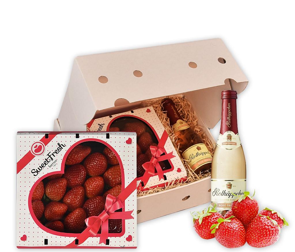 Obstbox Prickelnde Verführung mit Erdbeeren und Sekt