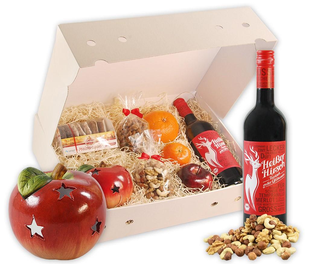 Obstbox Weihnachtsteelicht mit feinsten Nürnberger Lebkuchen, gesunden Nusskernen, dekorativem Apfelteelicht, BIO Glühwein und frischem Obst