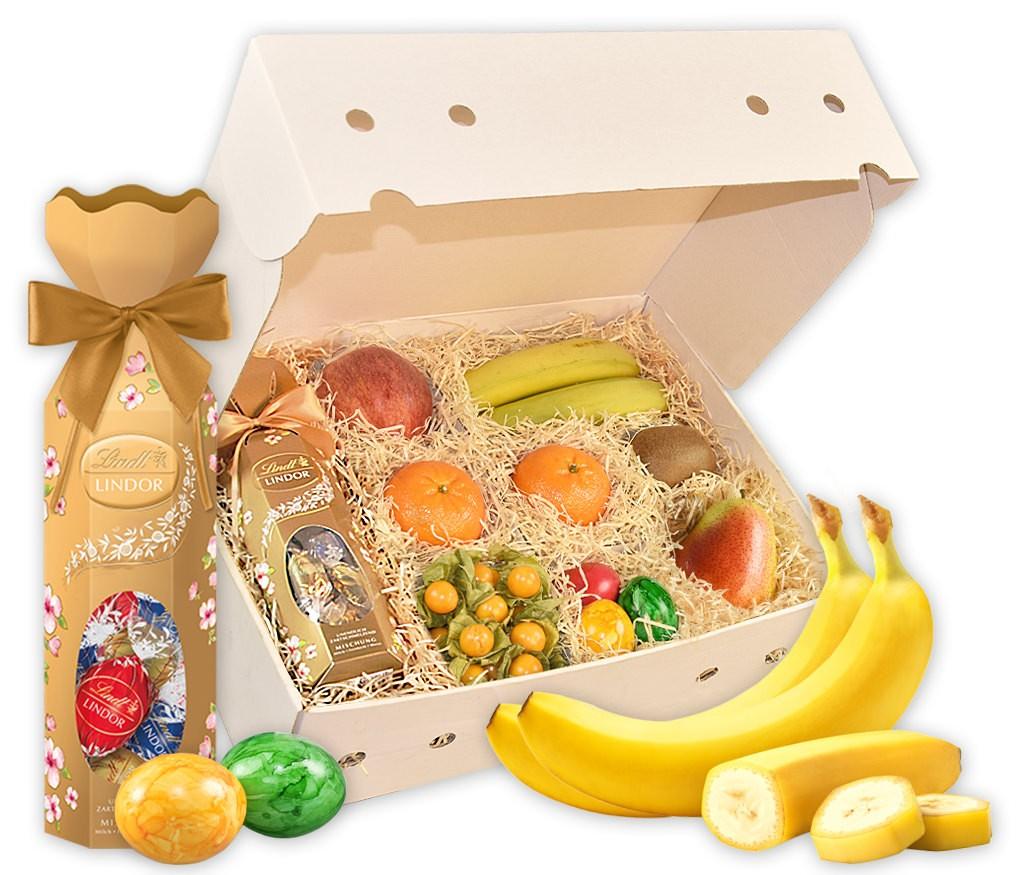 Obstbox Frohe Ostern mit geschmackvollem Baumkuchen und frischem Obst