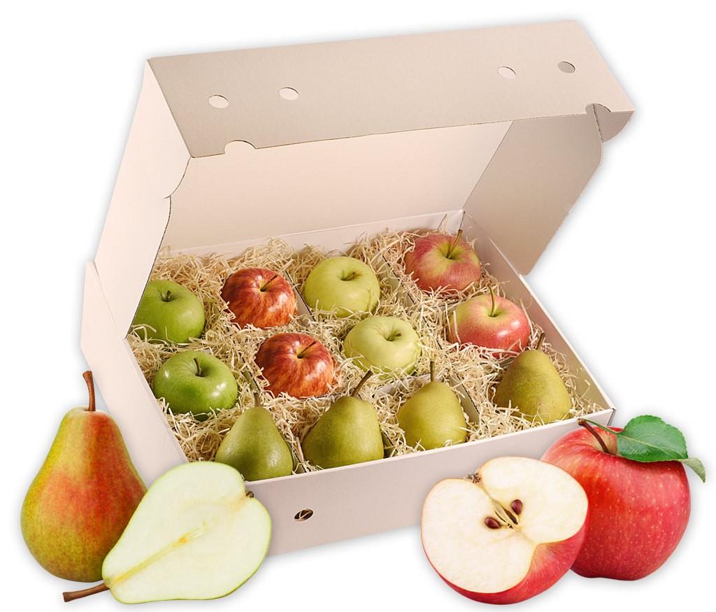 Obstbox Apfel-Birne, Auswahl an verschiedenen saftigen und knackigen Apfel- und Birnensorten