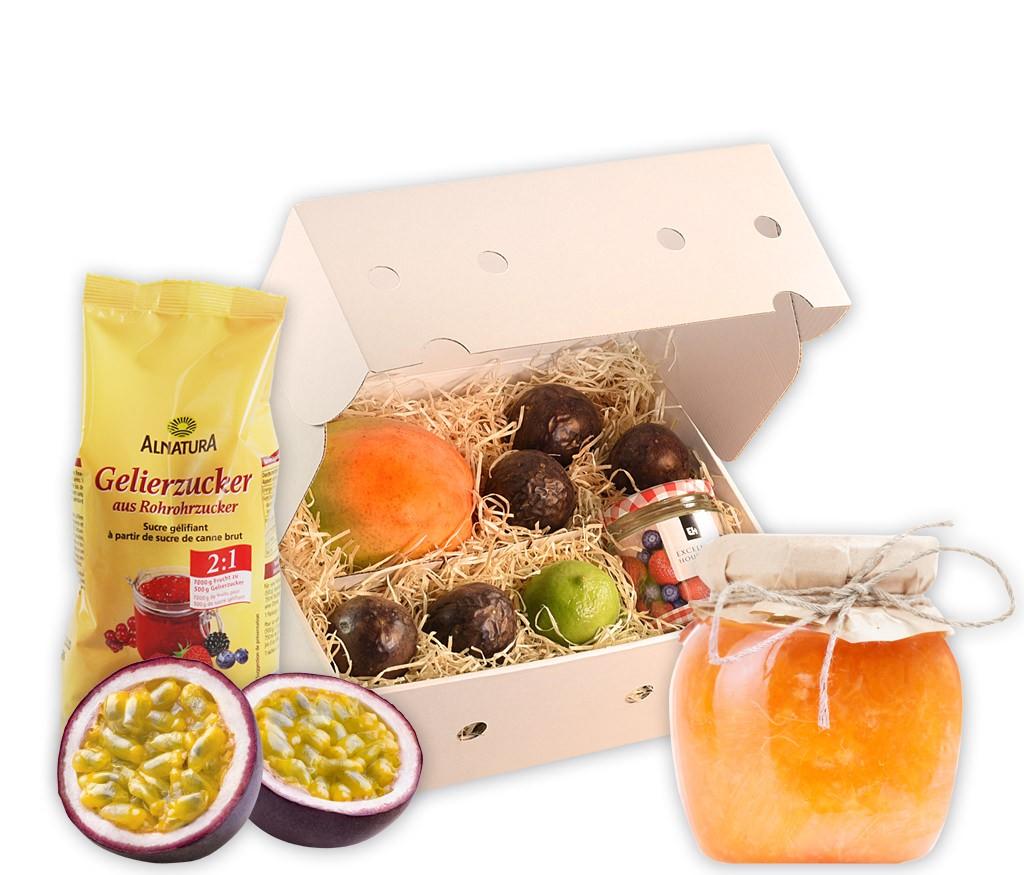 Rezeptbox Mango-Passionsfrucht-Marmelade mit allen Zutaten für eine leckere Marmelade inklusive Glas und Rezept