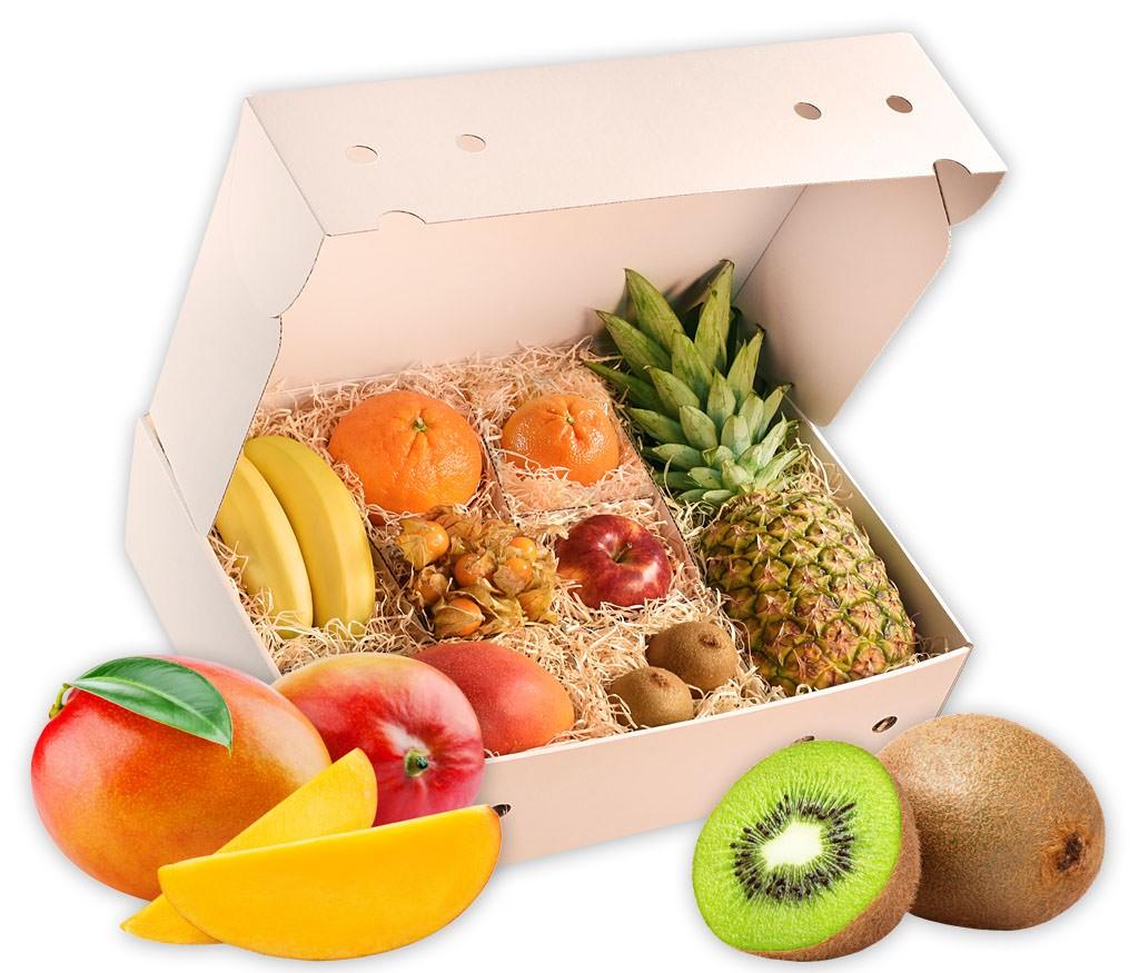 Obstbox Frühlingsboten, knackige Früchte in einer schönen Geschenkbox für den Frühling