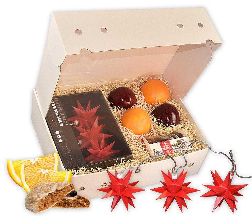 Obstbox Leuchtsterne mit 3D-Sternenkette, Lebkuchen und frischem Obst