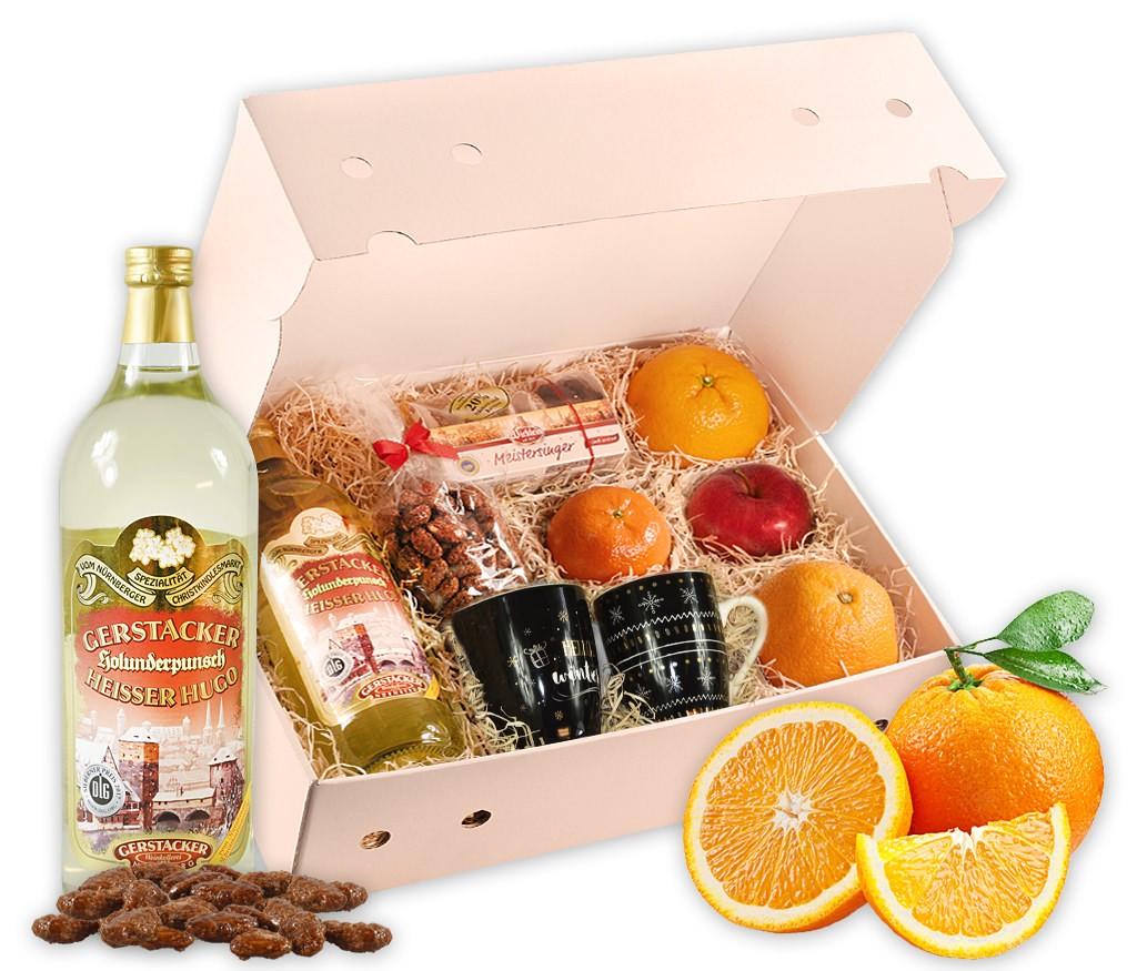 Obstbox heißer Hugo mit dekorativen Tassen, Gerstacker Heißem Hugo, gebrannten Mandeln, feinsten Lebkuchen und frischem Obst