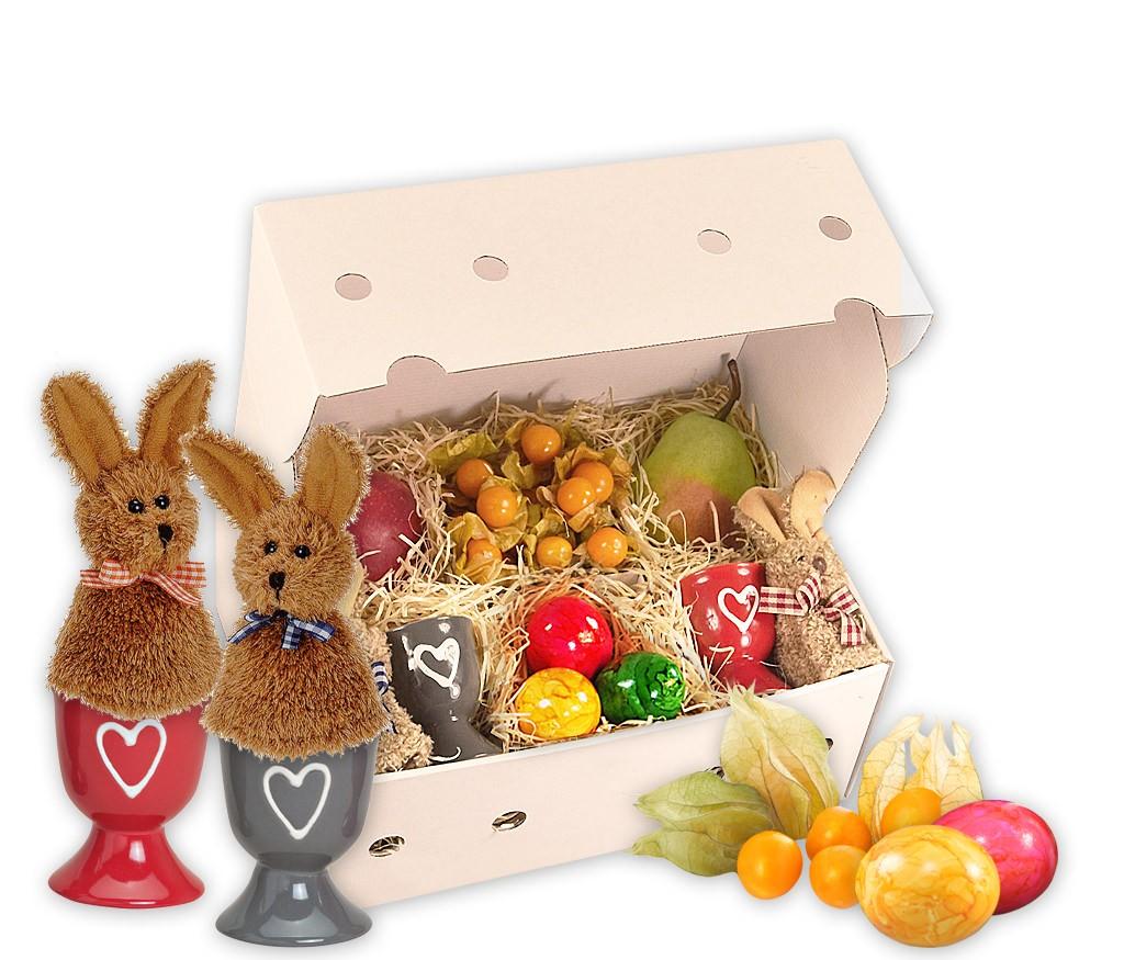 Obstbox Ei für Zwei mit niedlichen Eierwärmern Hase und dekorativen Eierbechern im 2er-Set und frischem Obst