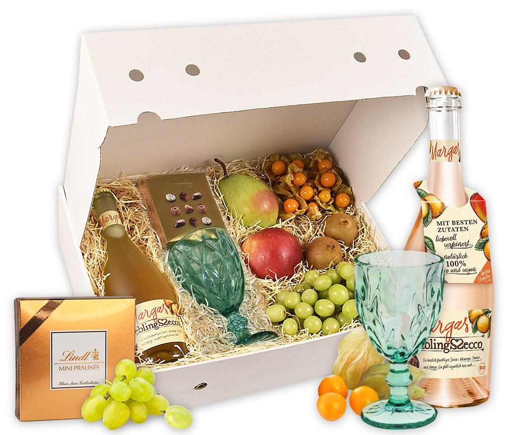 Obstbox Frühlingsprickelm mit Secco, vielen vitaminreichen Früchten und 2 Packungen Feel Fruity