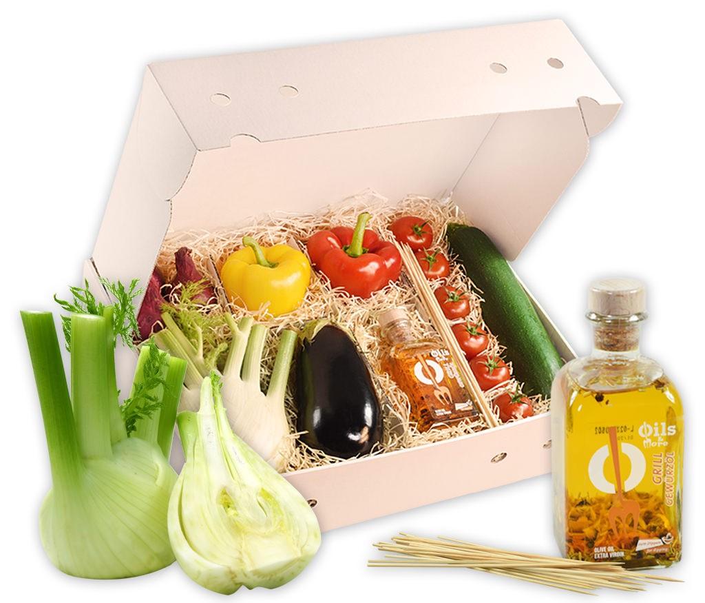Grillbox Gemüse, knackiges Gemüse, feines Kräuteröl und praktische Spieße in einer Geschenkpackung