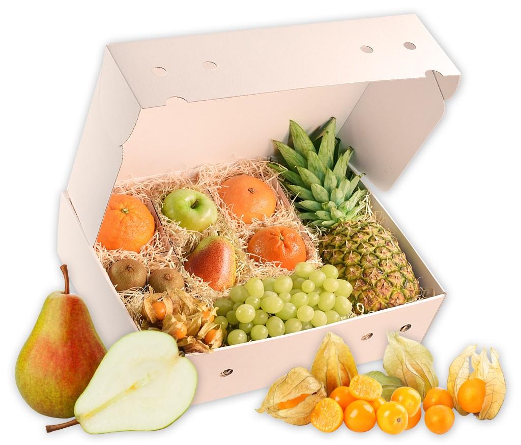 Obstbox Kaminzauber, knackige und vitaminreiche Früchte in einer schönen Geschenkbox