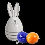 Keramik-Osterhase mit Streifen & zwei bunte Eier