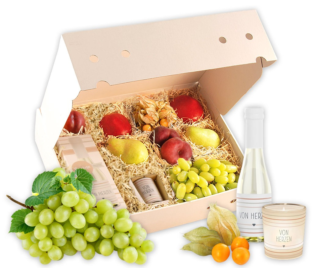 """Obstbox """"von Herzen"""" mit prickelndem Prosecco, Teelicht, zartschmelzender Schokolade und frischem Obst"""