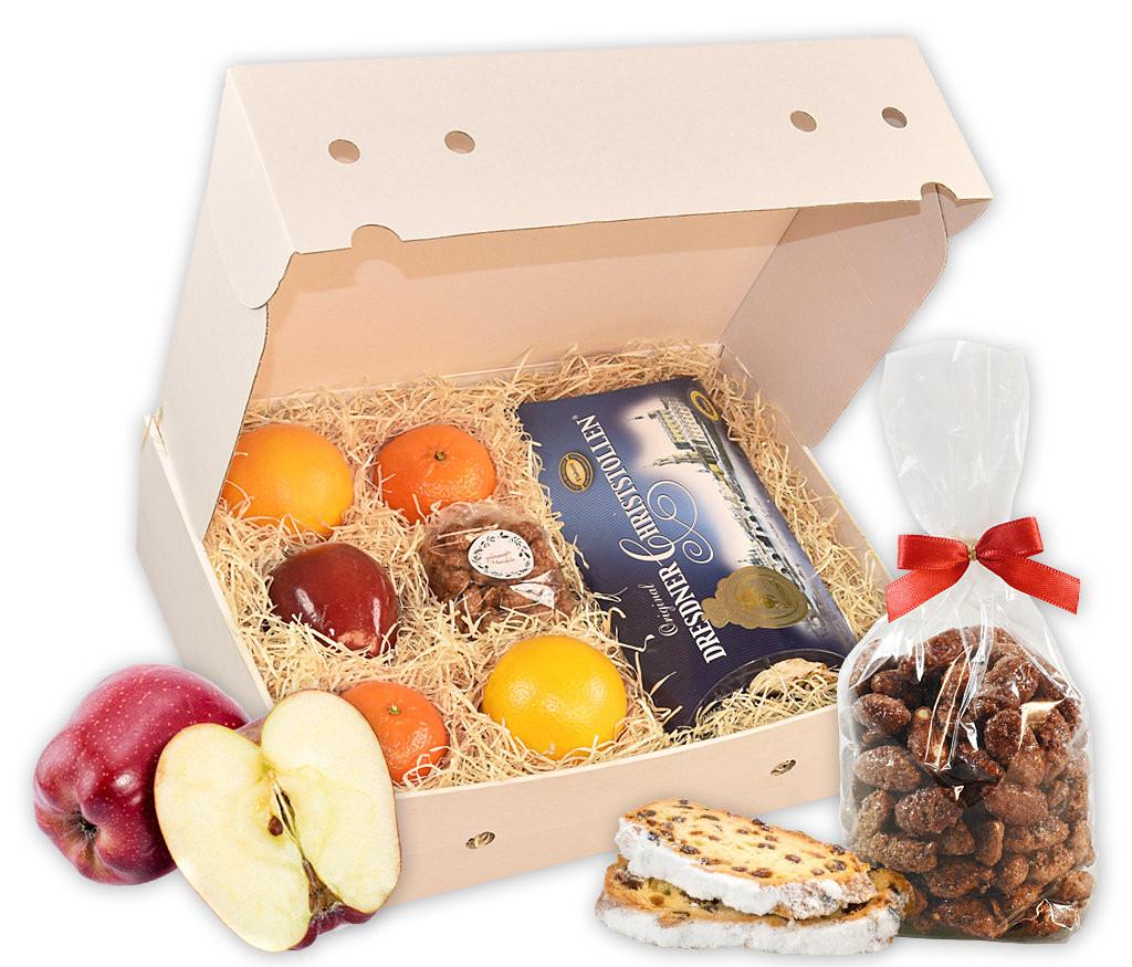 Obstbox Christstollen mit frischem Obst, gebrannten Mandeln und Dresdner BIO Christstollen