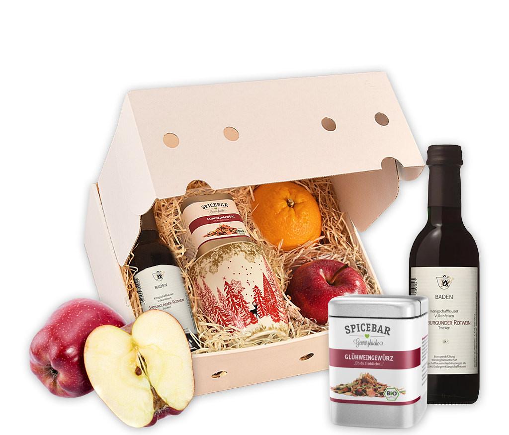 Obstbox Kleiner Glühweinzauber mit Rot- oder Weißwein, BIO Glühweingewürz, Tasse und frischem Obst