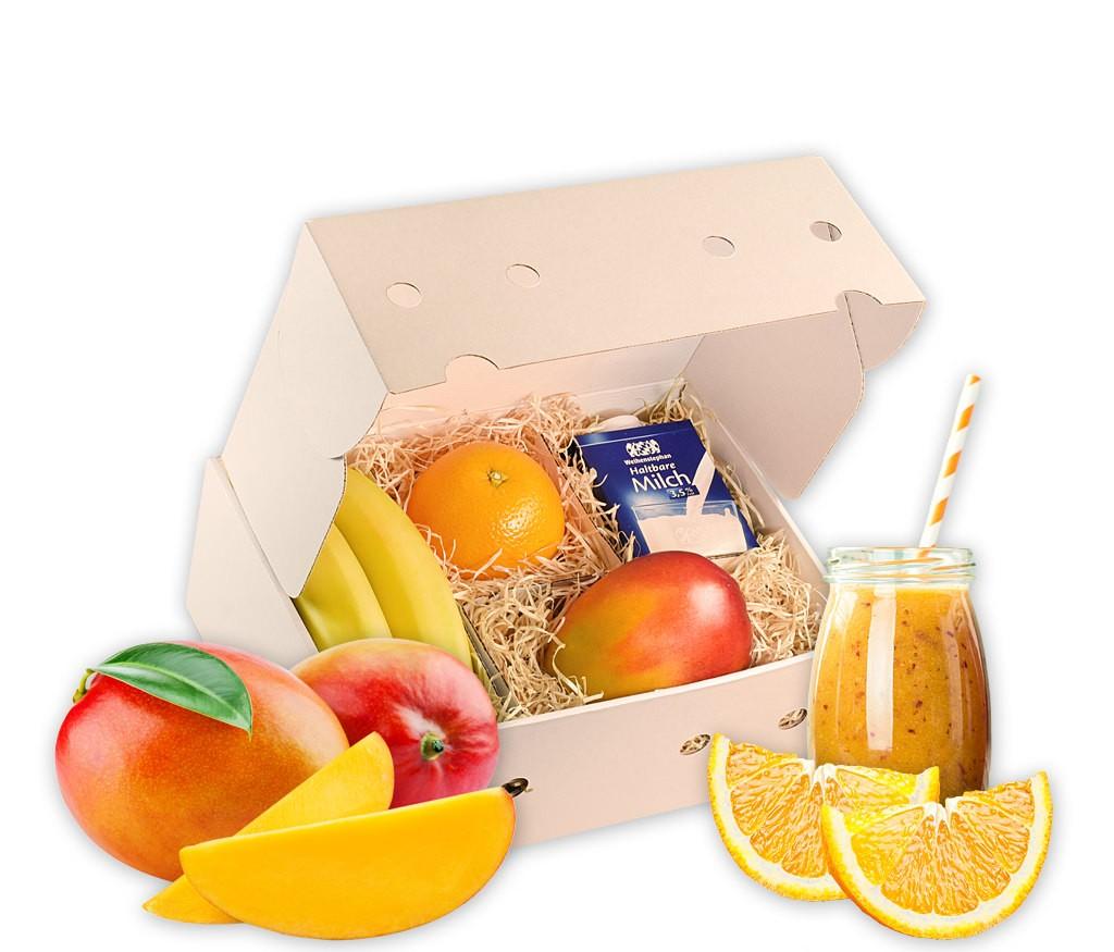 Smoothiebox Sunnyside mit frischen Früchten für einen gesunden Smotthie, inklusive Rezepttipp