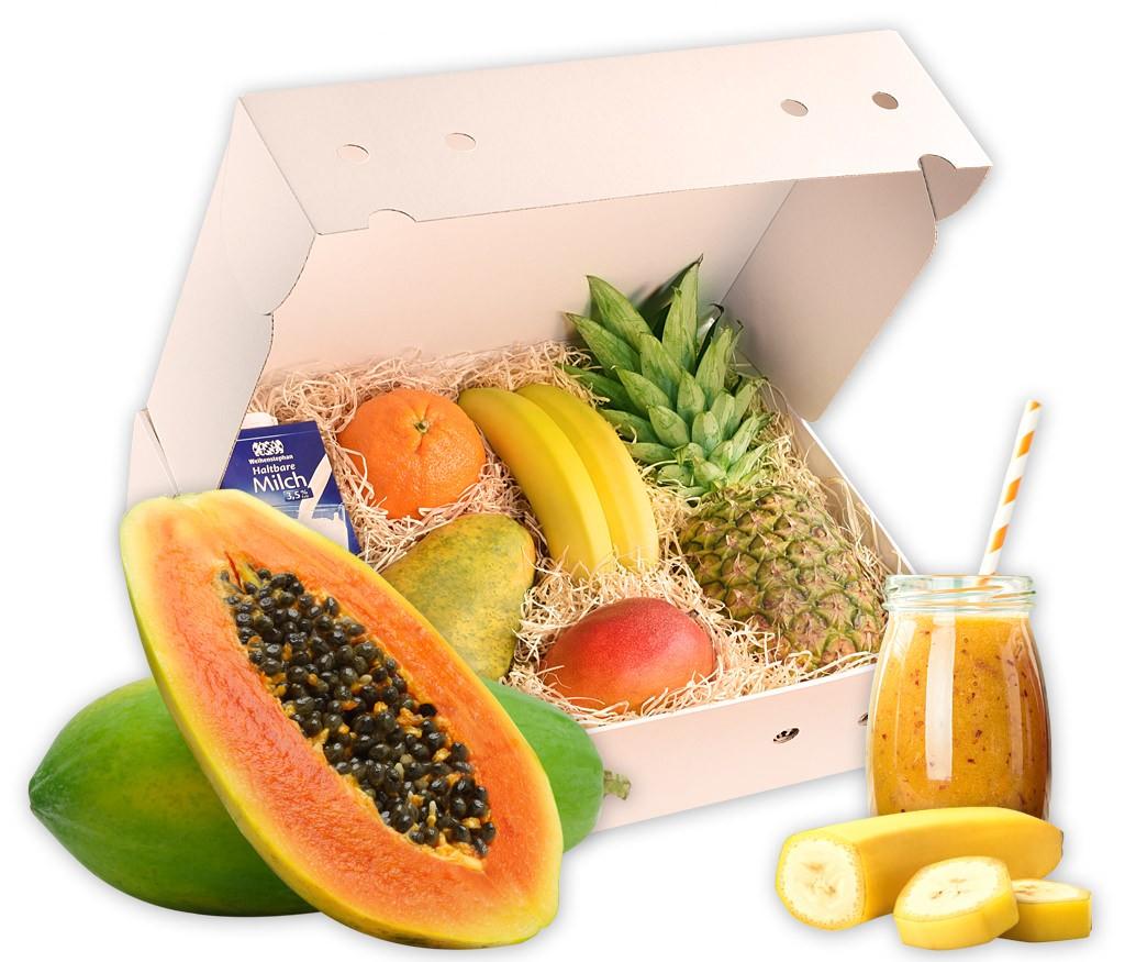 Smoothiebox Exotic-Passion-Sunnyside für doppelte Smoothiepower mit verschiedenen exotischen Früchten und Rezepten