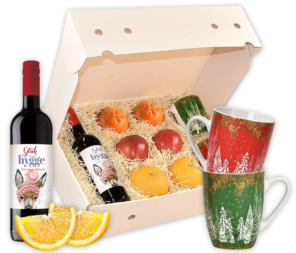 Obstbox Glühweinzauber mit rotem und weißen BIO Glühwein, saftigen Orangen und traditionellen Tassen