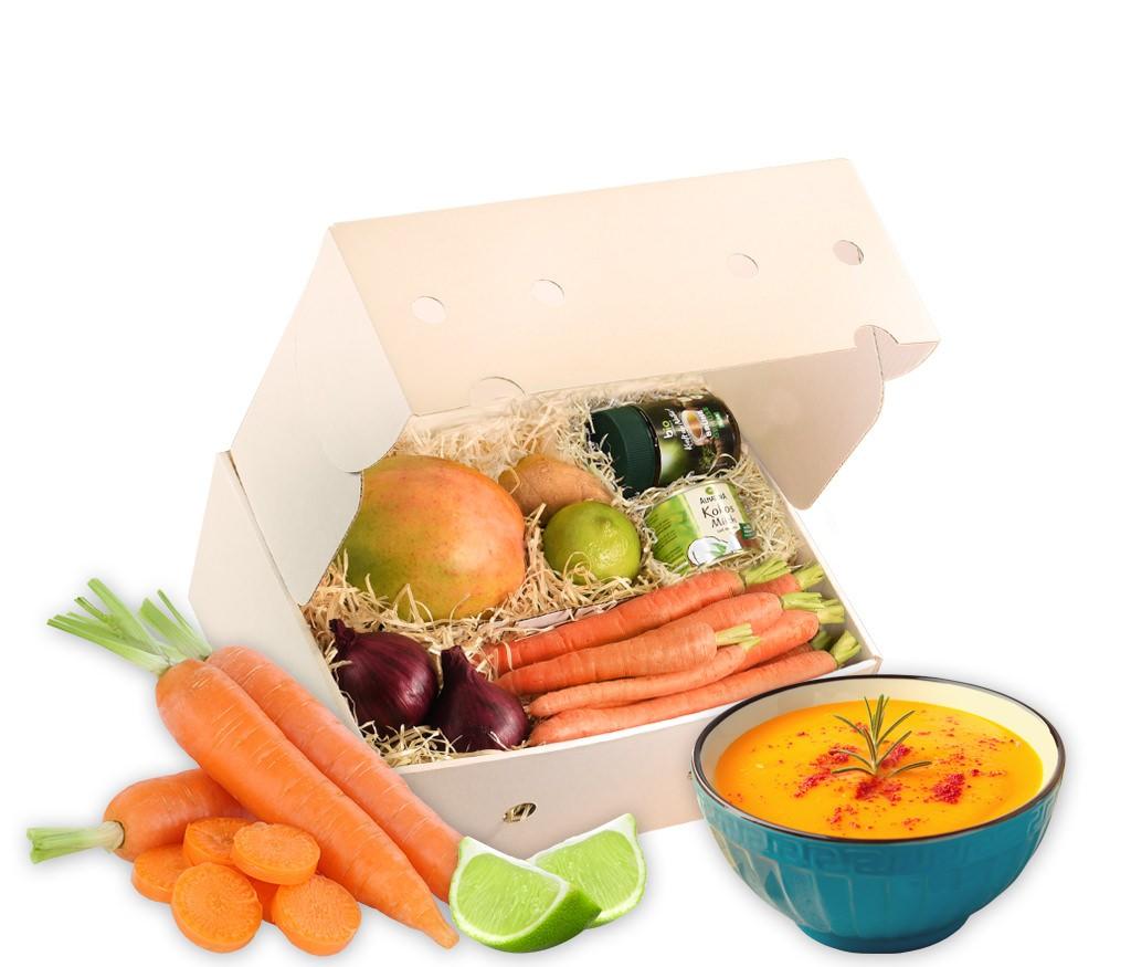 Rezeptbox Möhren-Kokos-Suppe mit Mango und allen Zutaten für eine leckere Suppe inklusive Rezept