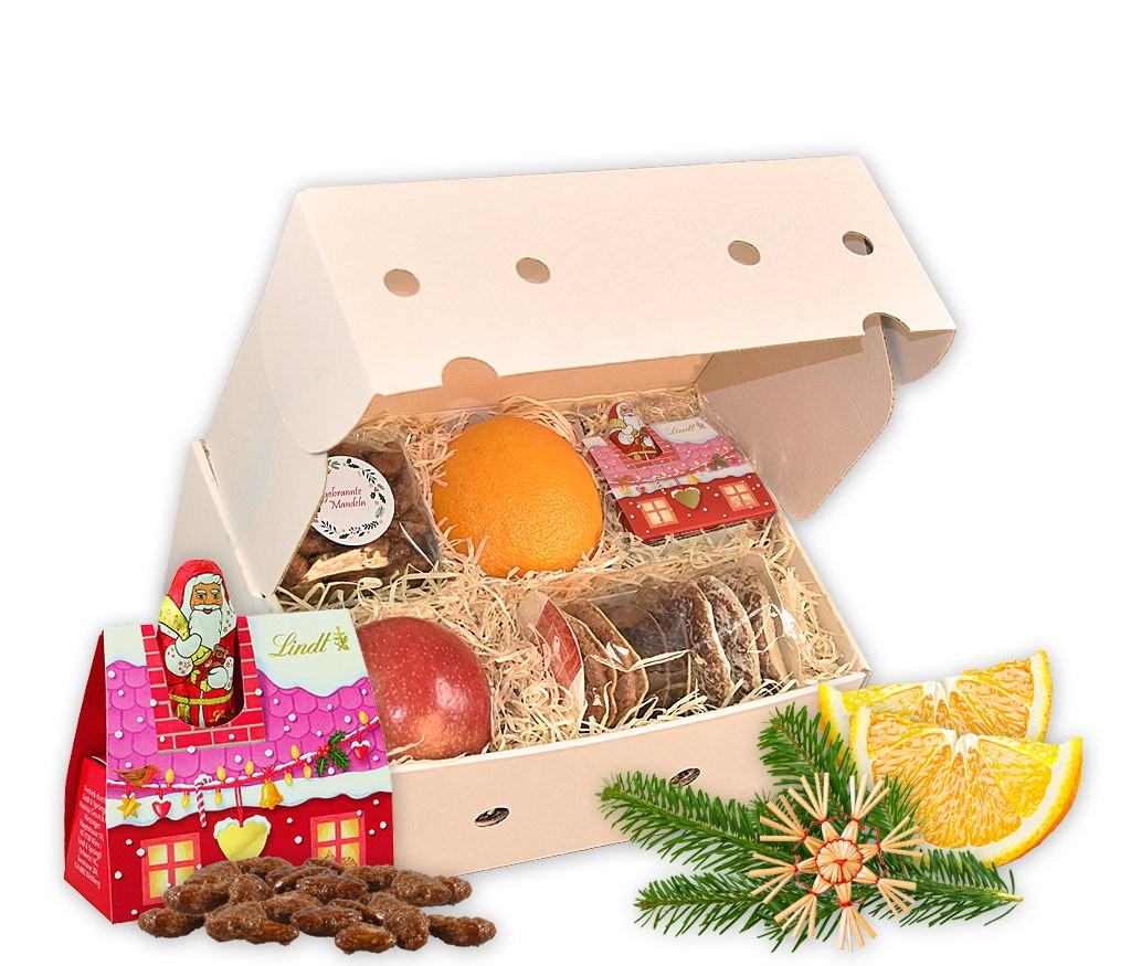 Obstbox Home Office Weihnachtsfeier mit frischem Obst, Lebkuchen, gebrannten Mandeln, Lindt LINDOR Kugeln und frischem Tannenzweig mit weihnachtlichem Filzanhänger