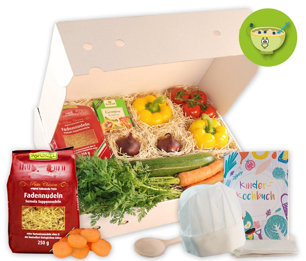 Kinderkochbox Suppenkasper für eine leckere Nudelsuppe mit Gemüse und mit Kochbuch
